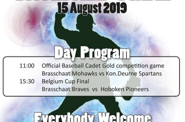 Come and see The Final of the Belgium Cup Baseball 2019 on Thursday 15 August