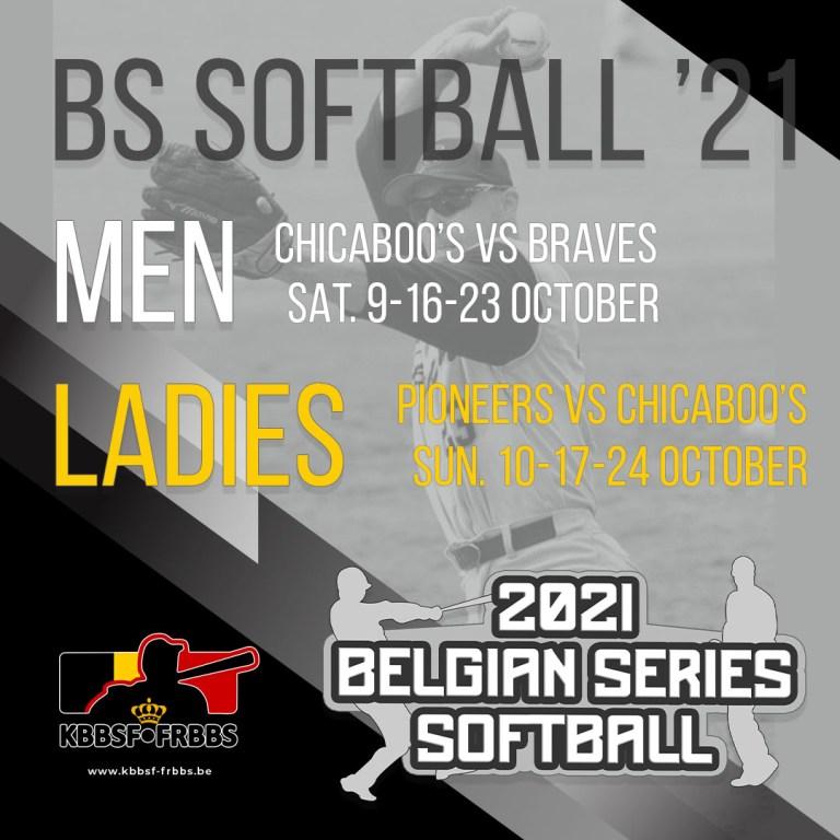 Belgian Series Softball start 9 – 10 October