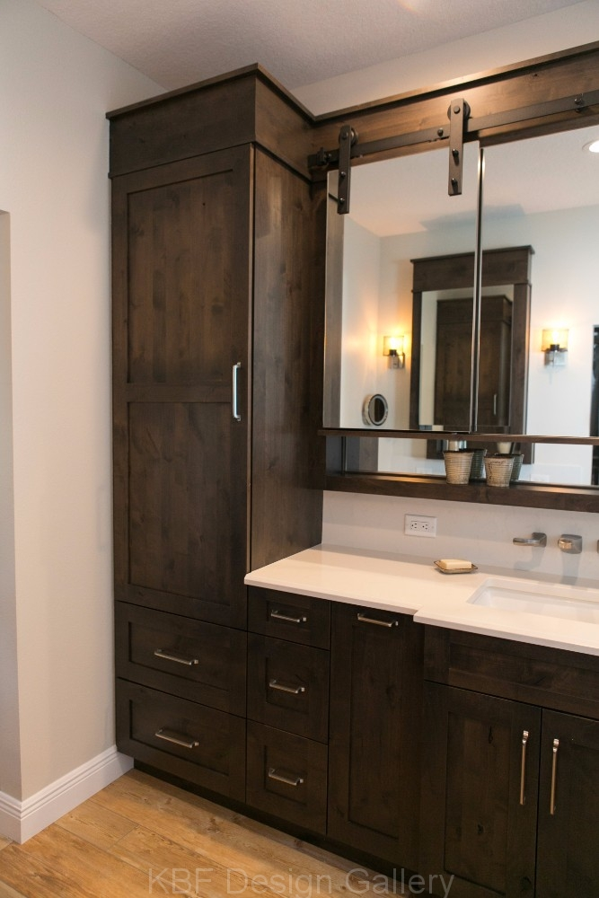 Barn Door Mirror Master Bath  KBF Design Gallery