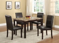 5 Pc. Set Faux Marble With Espresso Finish Dining Room ...