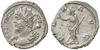 zilveren antoninianus van keizer Postumus, geslagen in Keulen in 268 n.C