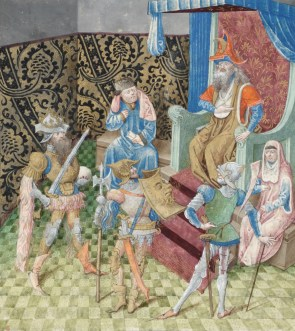 Alexander the Great, Hannibal and Scipio Africanus go to King Minos because they want to know which of them was considered to be greatest. Miniature by Jean Le Tavernier in Lucien de Samosate, Débat d'honneur. KBR, ms 9278-80