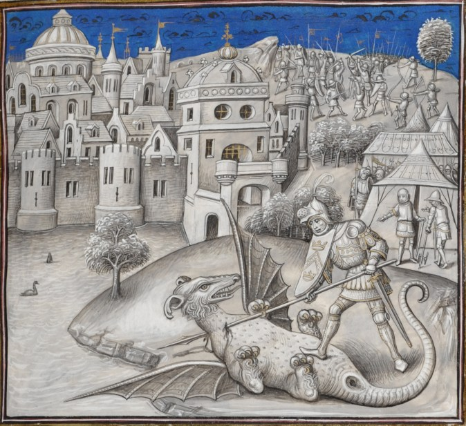 Marcus Actilius fights a fantastic animal. Miniature by Willem Vrelant in Leonardo Bruni, Première guerre punique. KBR, ms 10777, f 58r