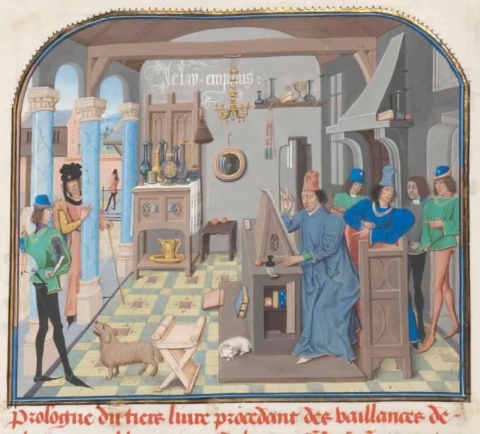 David Aubert in zijn scriptorium, tweede helft 15de eeuw. Histoire de Charles Martel. ms. 8, fol. 7r© KBR