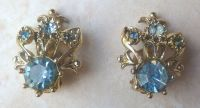 Vintage Blue Rhinestone Clip On Earrings.