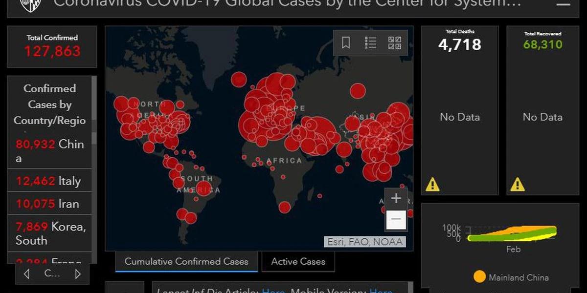 Live Coronavirus COVID-19 global cases map