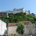 View of Salzburg Castle from square beside Salzburg Dom