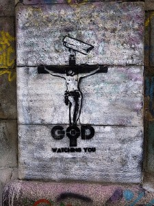 God is Watching You graffiti, Donaukanal, Vienna, Austria, 2014