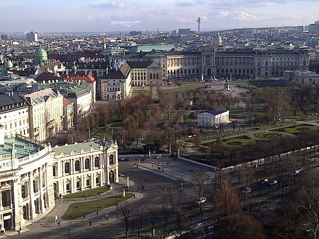 View of Burgtheater, Volksgarten and Heldenplatz from Vienna Skyliner Tower