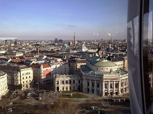 View of Burgtheater and St. Stephans from Vienna Skyliner Tower