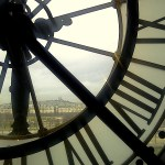 Clock at the Museum d'Orsay on the Impressionists floor overlooking Sacre Couer