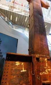 Steel beams displayed at the September 11 Memorial Museum