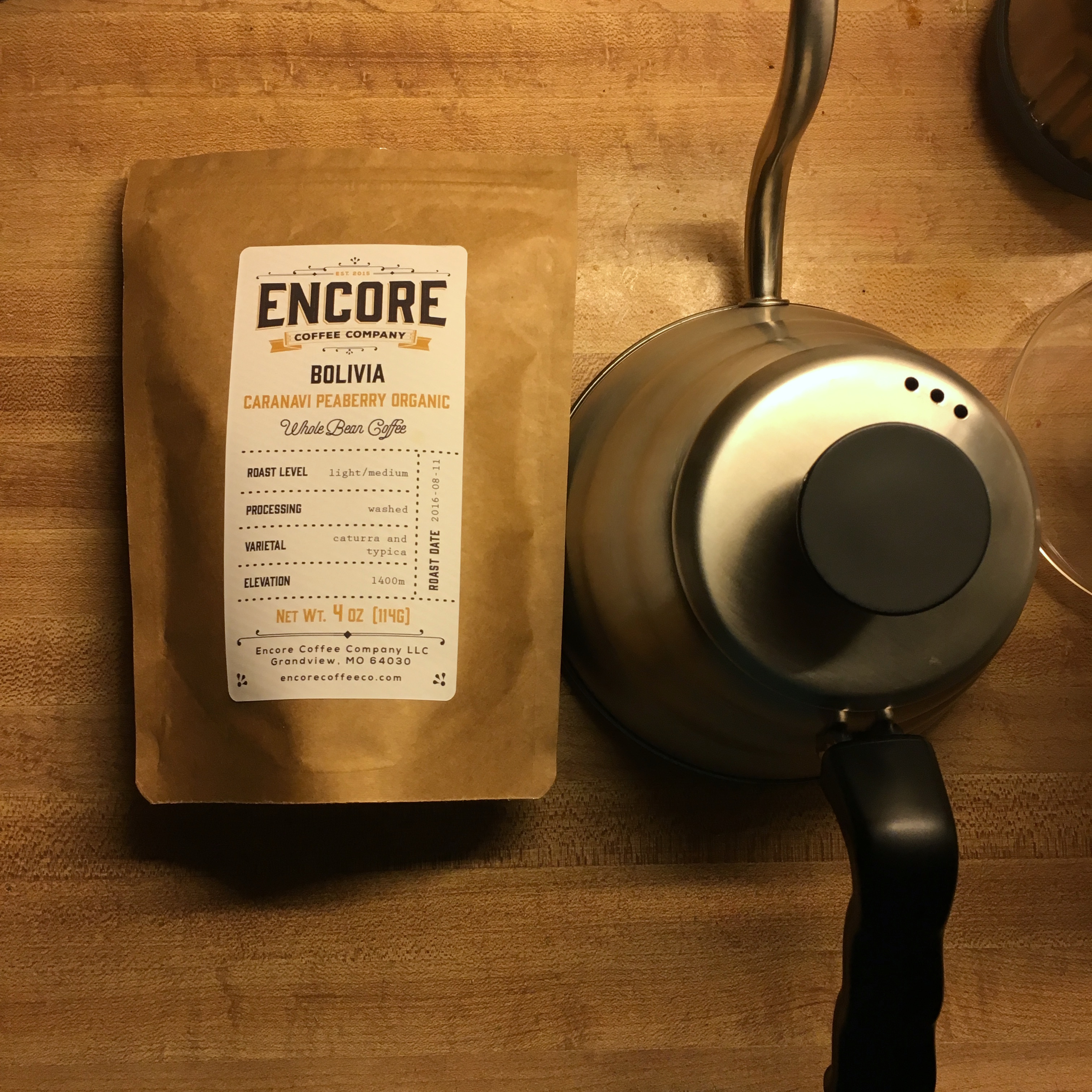 Encore Coffee Co. Bolivia Caranavi Peaberry Organic