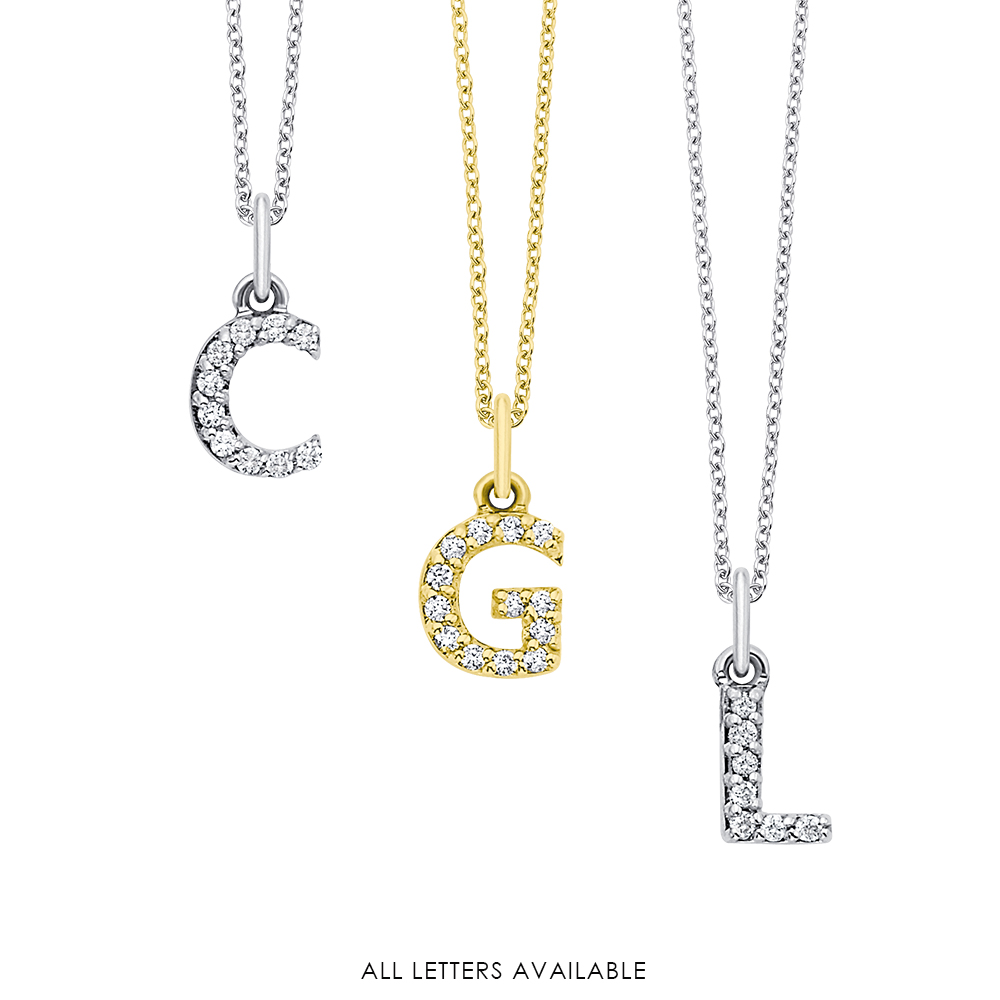 14k Gold and Diamond Baby Block Initial Necklace
