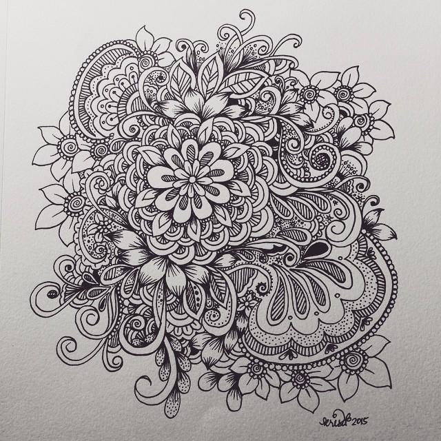Line Art Zendoodle : Flower cluster doodle kcdoodleart
