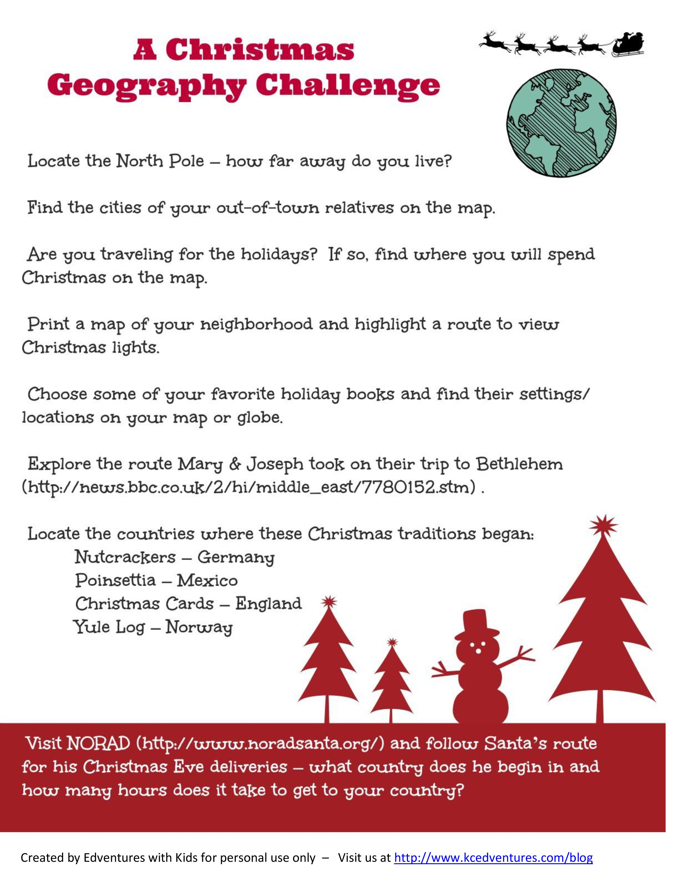 Christmas Around The World Map And Geography Activity