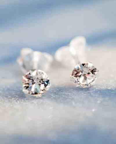 'Big Crystal studs' oorbellen Sterling Zilver