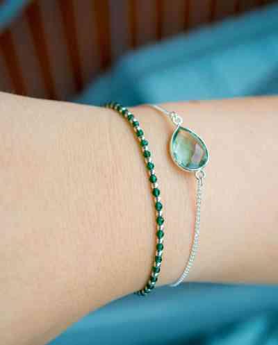 Zilveren edelsteen kralen armband met groene 'Spinel' van Sterling Zilver