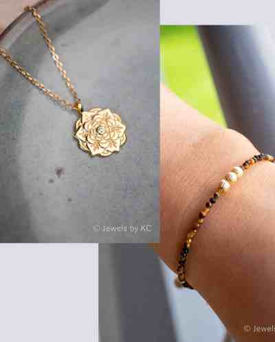 Gouden edelsteen sieraden set 'Golden girl' van Goud op Zilver