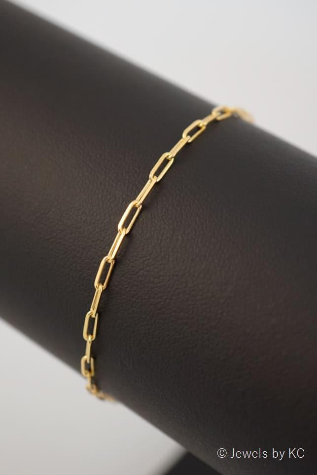 Gouden Long boxchain armband van Goud op Zilver