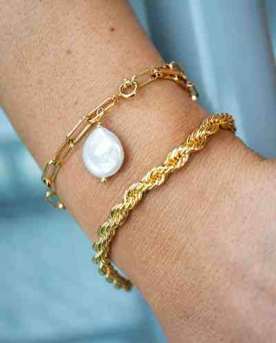Gouden armband 'Twisted Rope' van Goldplated messing