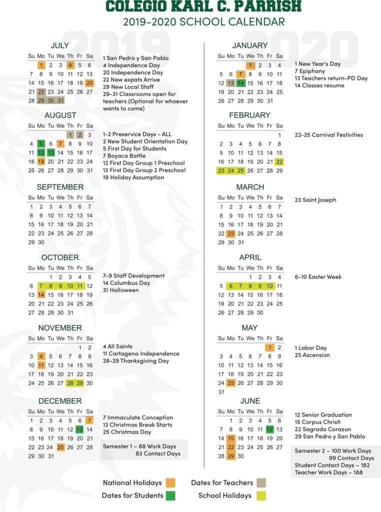 Calendario 2019 2020.School Calendar 2019 2020 Sociedad Escuela Karl C Parrish