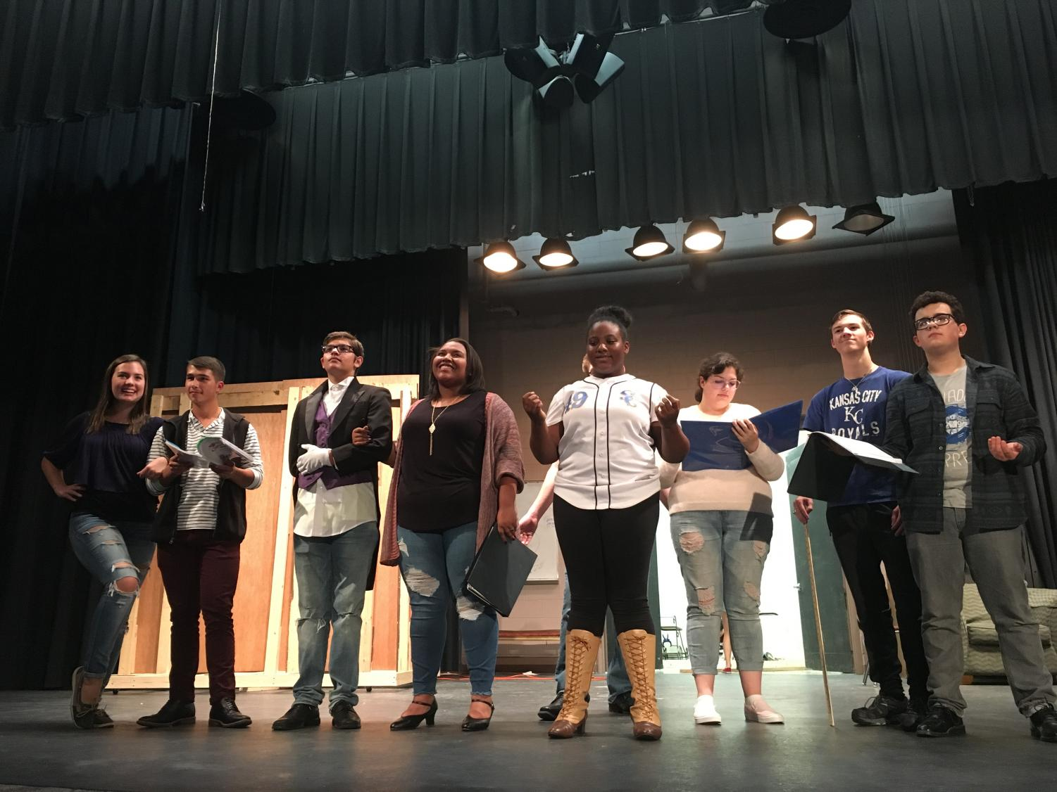 The cast performs the final number in an early run-through of the second act.