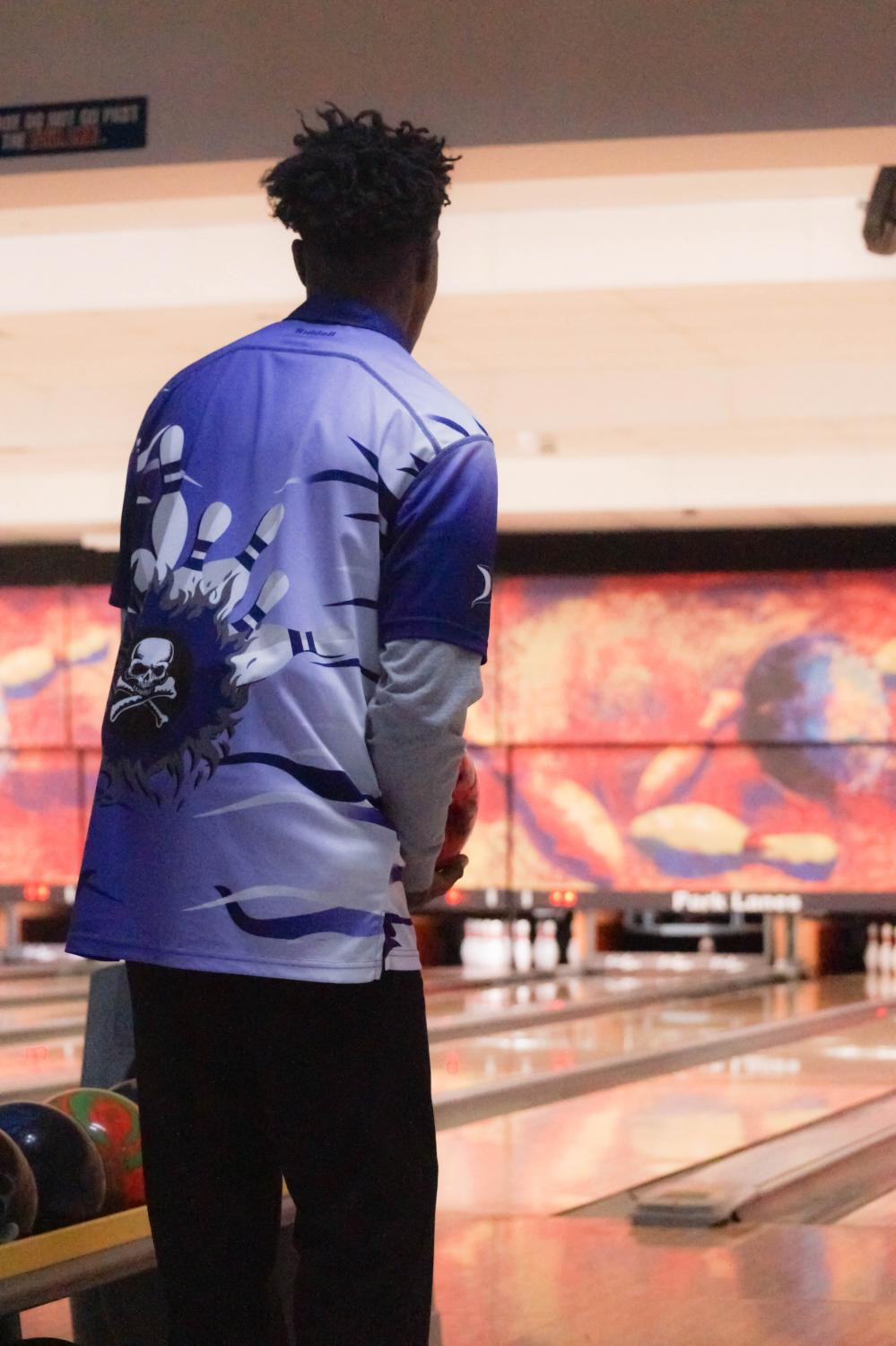 Looking to pin a win, senior Aaron Slaughter preps for a frame Jan. 10 at Park Lanes in Shawnee. Slaughter placed eighth at Regionals and