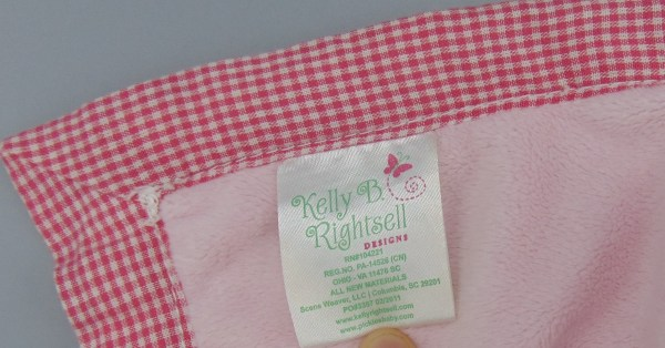 Kelly . Rightsell Hattie Frog Pink Gingham Border Lovey