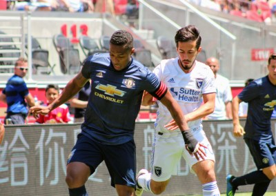 Antonio Valencia of Manchester United (left) and Jamir Hyka of San Jose Earthquakes (right) in the two teams' friendly matchup on Sunday, July 22 at Levi's Stadium in Santa Clara, CA. Photo by Bill Truong for KCSB Sports.