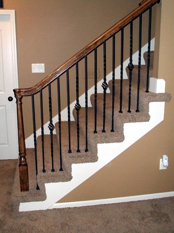 Iron Spindle Gallery Before And After Kc Wood | Installing Newel Post And Spindles | Stair Treads | Stair Railings | Stair Banister | Box Newel | Staircase