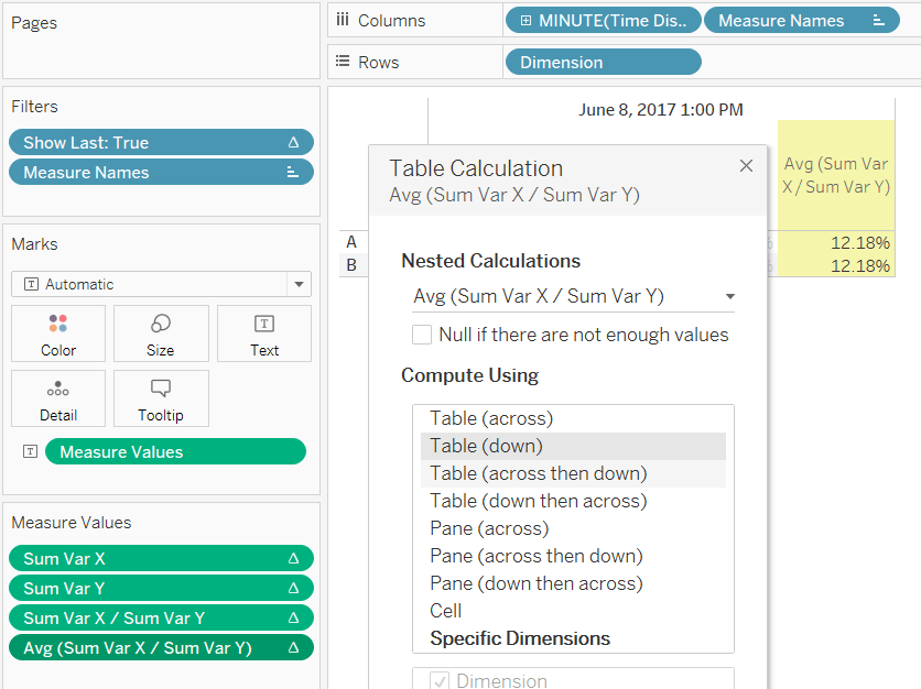 Tableau nested calculations