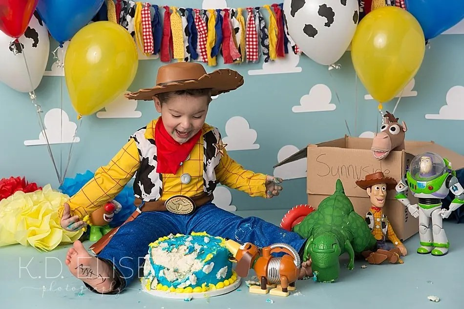 Toy Story themed cake smash by Pueblo photographer K.D. Elise Photography.