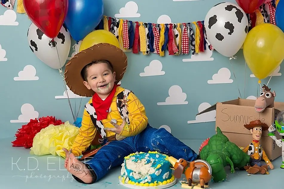 Toy Story themed cake smash by Colorado Springs photographer K.D. Elise Photography.