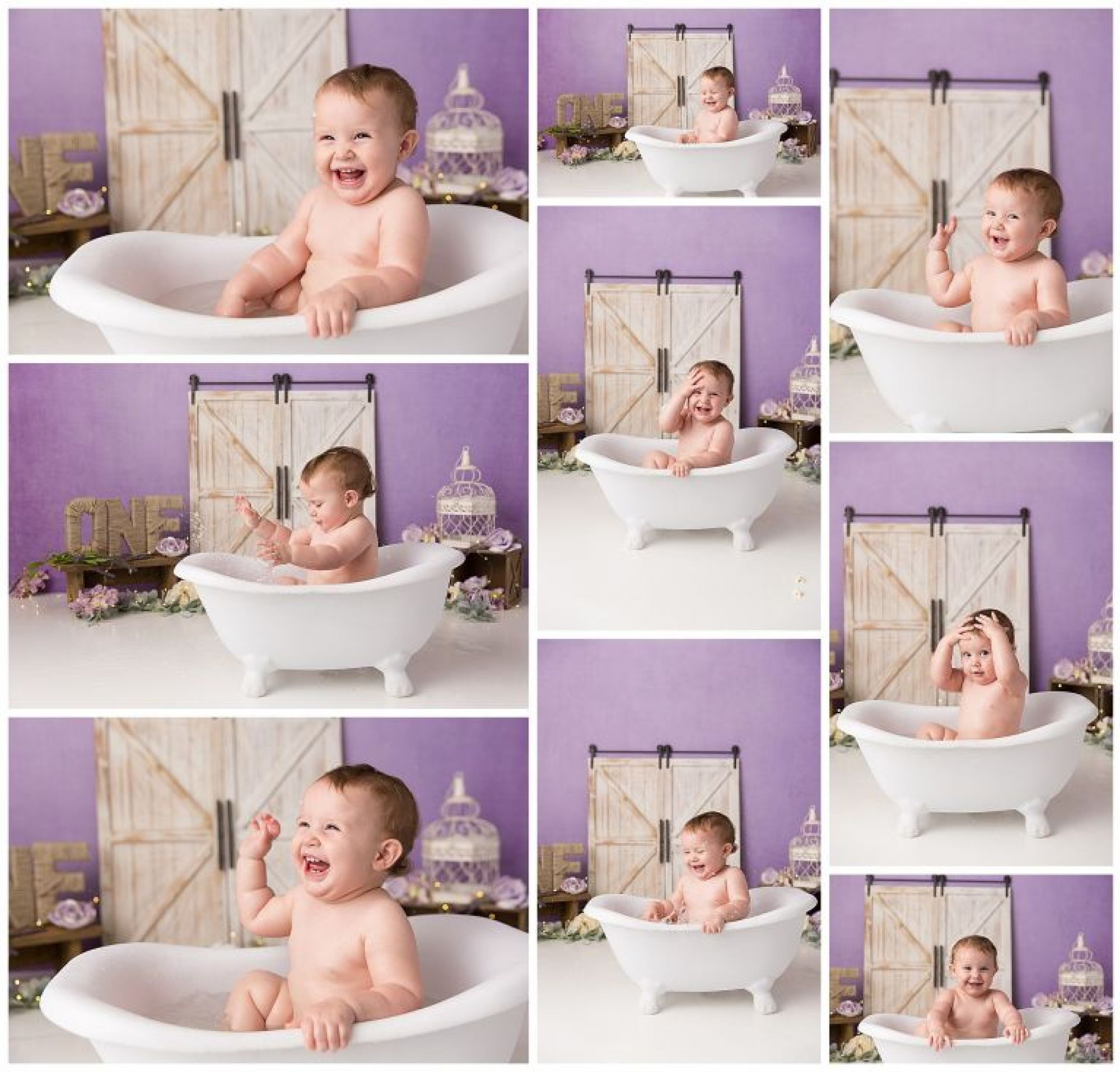 Photos of baby girl splashing in a bathtub after cake smash session with K.D. Elise Photography.