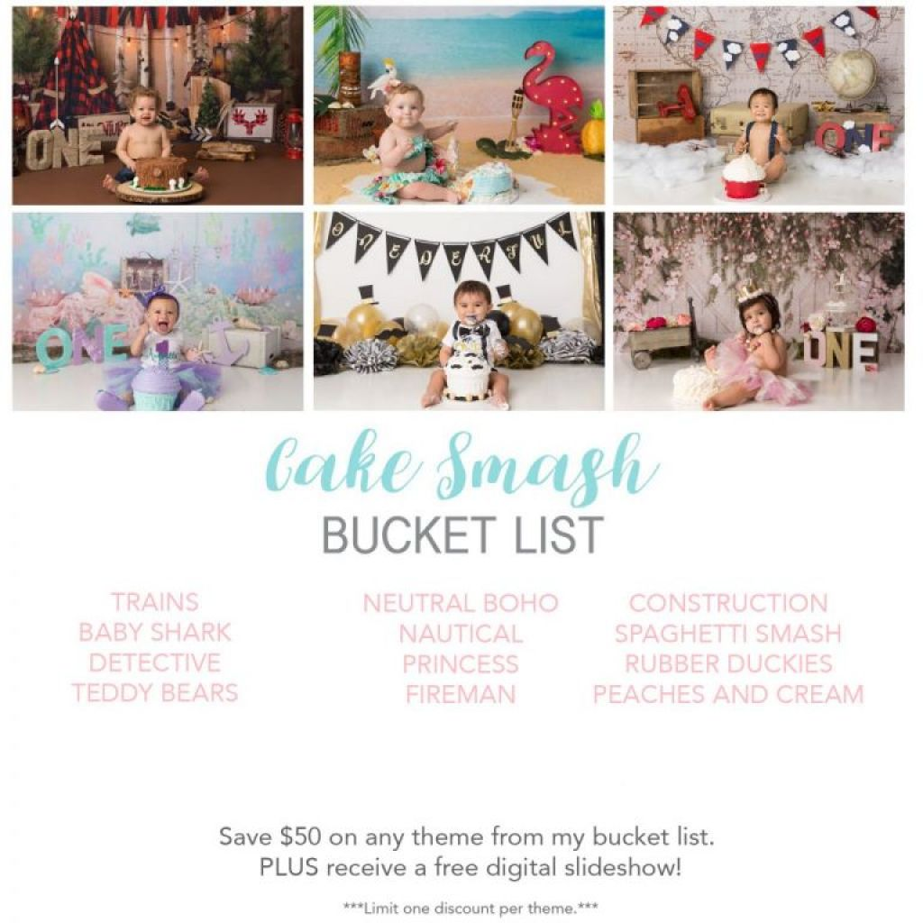 K.D. Elise Photography's 2020 cake smash bucket list sessions. List includes: trains, happy sharks, detective, teddy bear, neutral boho, nautical, princess, firemen, construction, spaghetti, rubber ducky and peaches and cream.