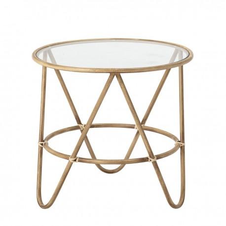 bloomingville table basse ronde metal laiton verre verdon kdesign