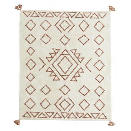 madam stoltz tapis tufte ecru motif geometrique orange 140 x 200 cm kdesign