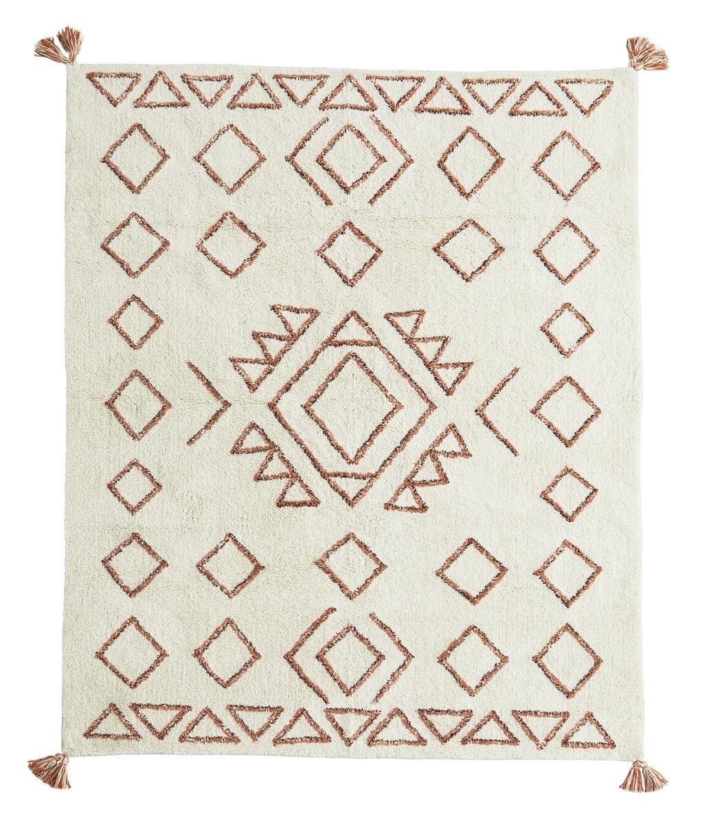 madam stoltz tapis tufte ecru motif geometrique orange 140 x 200 cm kdesign