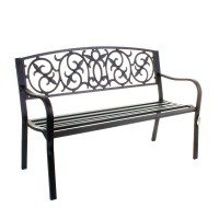 Garden Metal Bench 3 Seater Cast Iron Backrest Outdoor ...