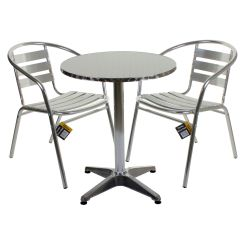 Bistro Tables And Chairs Hammock Chair Stand Aluminium Lightweight Chrome Sets Round Square