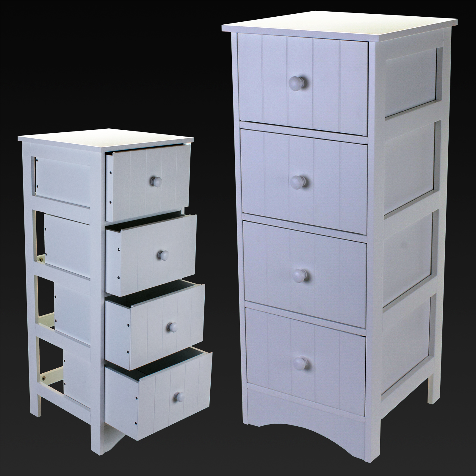 4 DRAWER CABINET STORAGE UNIT WHITE WOODEN BATHROOM CHEST