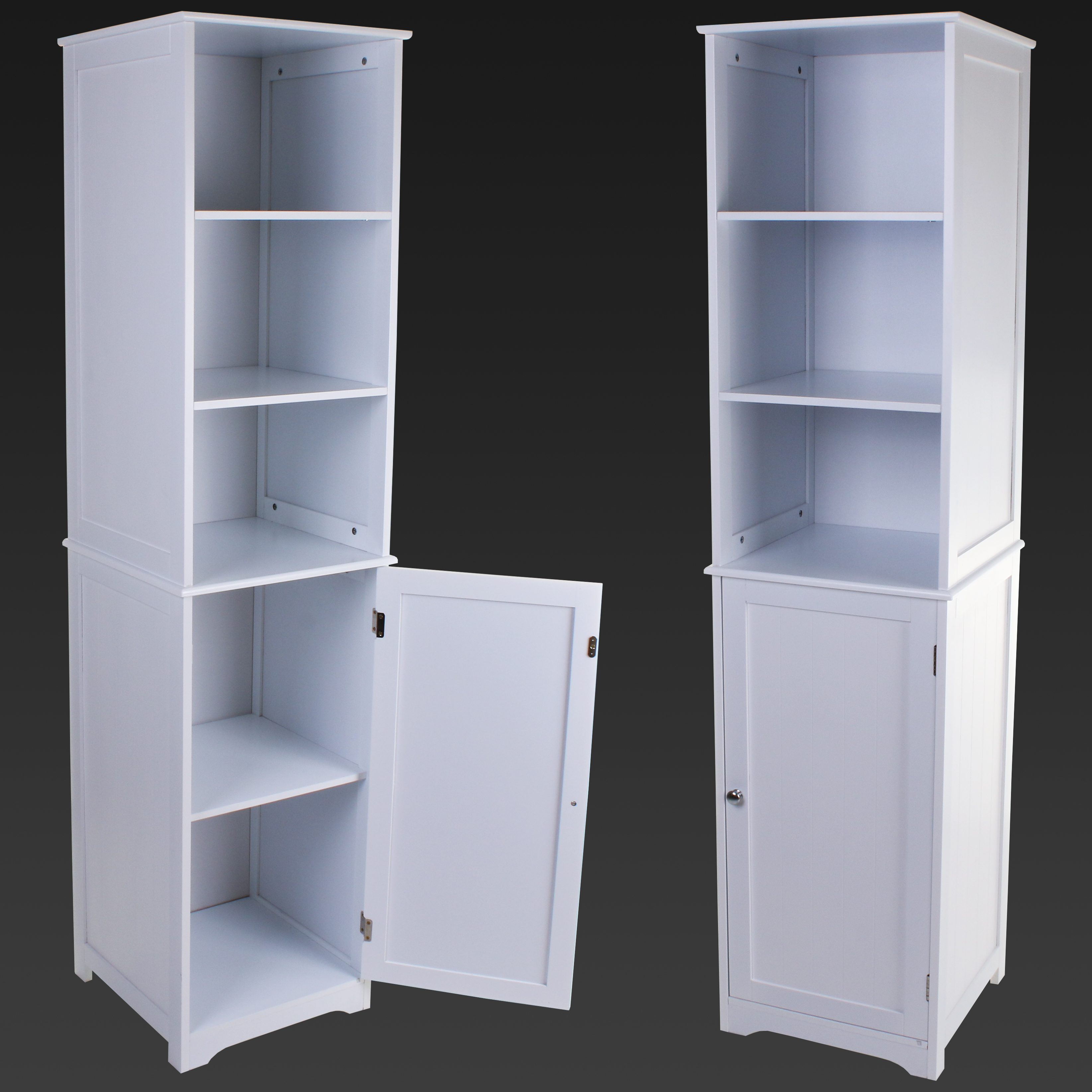 TALL BOY WOODEN STORAGE UNIT CUPBOARD CABINET SHELVING SHELVES BATHROOM UNIT  eBay