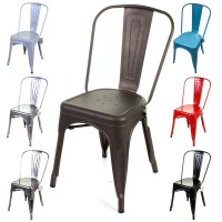 Metal Dining Chair Stackable Industrial Vintage Style Seat ...