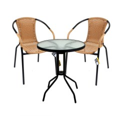 3 Piece Outdoor Table And Chairs How To Raise A Chair Height Bistro Set Garden Patio Tan Wicker Rattan