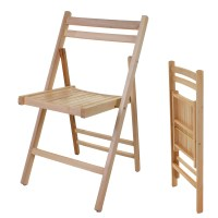 Wooden Folding Chair Indoor Outdoor Slatted Natural Dining
