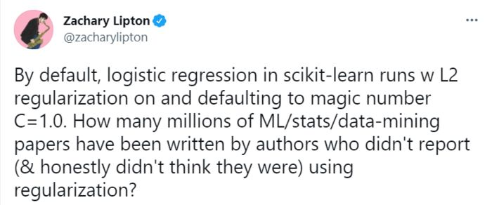 Tweet by Zachary Lipton highlighting issue of default L2 penalty in sklearn's logistic regression.