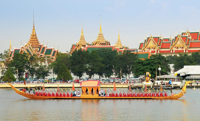 Thailand's Royal Barge Procession along the Chao Phraya River in Bangkok.