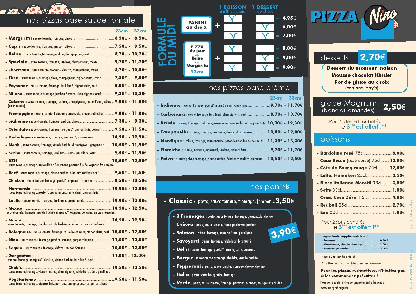 pizza nino a quimper pizzeria