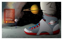 Advertisement: Cosmos Basketball Shoe On One of Saturn's Moons